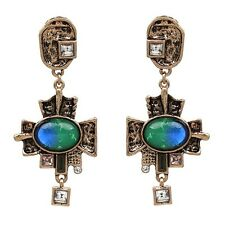 NEW ZARA BEAUTIFUL GREEN BLUE STONES ART DECO LOOK 3'' DROP DANGLE EARRINGS