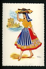 Embroidered clothing postcard Artist Freixz Portugal Lisbon woman #5