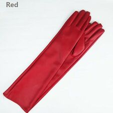 lady Warm Lambskin Leather Opera Long Gloves Black Lambskin popular et