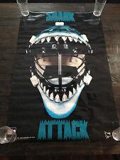 """NHL VINTAGE HOCKEY POSTER SAN JOSE SHARKS GOALIE MASK 22""""x34"""""""