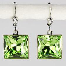 Ohrringe Ohrhänger Silber Swarovski Kristall – Carrée Rechteck – Peridot grün