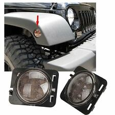 LED Front Fender Light Smoked Amber Parking Side Marker For 07-15 JEEP WRANGLER