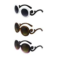 Womens Round Fashion Designer Inspired Sunglasses with Baroque Swirl Arms