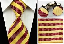 SNT063 Red Yellow Striped Classic Men Tie Necktie+cufflinks+handkerchief Sets