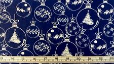 CHRISTMAS TREES BALLS BLUE SILVER COTTON QUILT FABRIC 30CM X 110CM FREE POST*