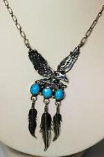 """Robert Becenti Native American 925 Turquoise Eagle Feather Necklace 17"""" - 8084"""