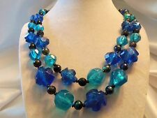 BEAUTIFUL Double-Strand Shades BLUE/BLACK Lucite Matching Clasp Necklace F5-N07