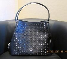 NWT COACH EDIE 31 FLORAL RIVETS  38077 SHOULDER BAG IN SILVER/NAVY/BLACK
