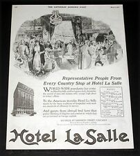 1919 OLD MAGAZINE PRINT AD, HOTEL LA SALLE, PEOPLE FROM EVERY COUNTRY COME SHOP!
