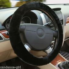 Black Soft Wool Plush Fuzzy Auto Car Steering Wheel Cover Universal For Winter