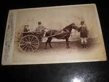 Cabinet photograph children small pony & trap by Wilson at Dalston London 1890s