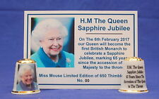 H.M The Queen Sapphire Jubilee 65yrs of Her Accession Thimble+ Ltd Ed Card B/179