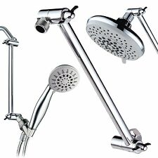 9 Inch Brass Chrome  Shower Head Adjustable Height Arm Mount extension