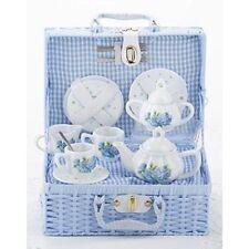 Delton Children's Porcelain Tea Set for 2 in Wicker Basket HYDRANGEA