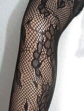 Collant rete nero con fantasia Fiori Cirro, sexy, taglia unica, Gothic Style