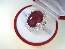13.94 CTW RUBY & WHITE SAPPHIRE RING sz 6.75 WHITE GOLD over 925 STERLING SILVER