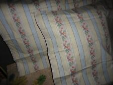 VINTAGE VENUS COTTAGE BLUE PINK TALLOW FLORAL VINE (PAIR) STANDARD PILLOWCASES