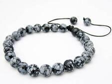 Men's Shamballa bracelet  all 8mm Snowflake Obsidian beads