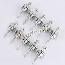 10 x Strap Locks Buttons Round Head For Guitar Bass Schaller Style Chrome Silver