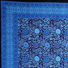 Handmade 100% Cotton Sunflower Tapestry Bedspread Tablecloth Twin Dreamy Blue