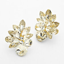 1.5 marquise crystal feather clear gold clip on earrings non pierced bridal prom