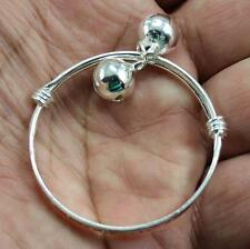 Pretty Jewelry 1Pair NF 925 Silver Plated Cute Baby Bell Cuff Bracelet Bangle