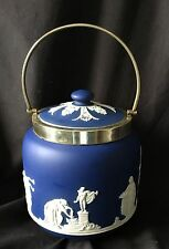A Stunning Antique Wedgwood, Dark Blue/Cobalt Jasper Ware Biscuit Barrel.