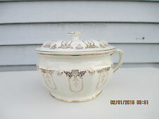 Antique Porcelain China Chamber Pot Commode Potty Off White with Gold Design
