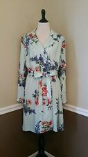 NEW Modcloth Trench Coat 2X Profound Pizzazz Mint Floral Spring Jacket Retro $99