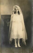 1907-1915 RPPC Pretty Girl in White Dress & Veil, First Communion? Unposted