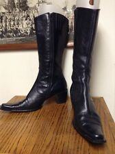 ELISA .C Vintage Cowboy Boots Women's Black Leather Size 8.5M Made in Italy
