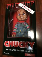 "NEW CHILD'S PLAY 15"" SCARRED FACE TALKING CHUCKY MEGA SCALE DOLL 2016 MEZCO"