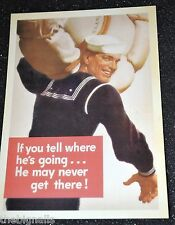 WWII Poster IF YOU TELLL Postcard