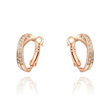 Fashion Jewellery 18K Rose Gold Plated Austrian Crystal Cross Hoop Earrings +BOX