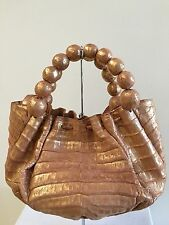 NANCY GONZALEZ Crocodile Beaded Handle Satchel Bag Handbag