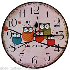 Retro Owl Style Wooden Wall Clocks Silent Living Room Home Decor Nice Xmas Gift