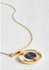 14K Gold Plated Blue Quartz Drop roundness Pendant Necklace Fashion