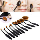 10pcs/set Tooth Brush Shape Oval Makeup Brush Set Pro Foundation Powder Brush