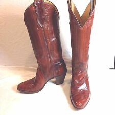 "Justin Boot Co Brown Eel Skin Western Boot Ladies Country Square Dance 2 3/4"" 6B"