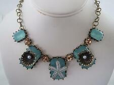 Betsey Johnson gold tone~green stone~sea shell~starfish necklace, NWT