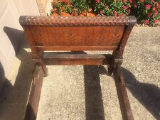 Antique Cincinnati Art Carved Youth Child's Bed Arts and Crafts Furniture