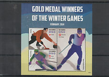 Gambia 2014 MNH Winter Games Gold Medal Winners 3v M/S Olympics Curling Skiing