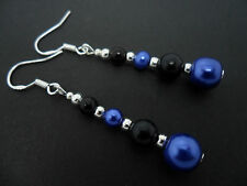A PAIR OF BLACK & BLUE PEARL EARRINGS WITH 925 SOLID SILVER HOOKS. NEW..