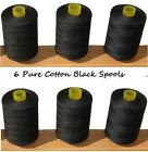 New Black 6 x Pure 100% Cotton Sewing Machine Thread 800M Large Spools / Reels