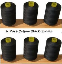 New 6 Pure 100% Cotton Sewing Machine Thread Black 800M Large Spools / Reels