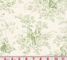 P Kaufmann Kensington Garden Apple Green Ivory Toile Print Fabric
