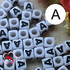 """""""A"""" White Square Alphabet Letter Acrylic Plastic 7mm Beads 37C9129-a"""