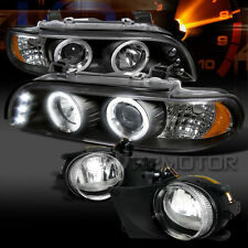 01-03 BMW E39 5-Series Black Halo LED Projector Headlights+Clear Fog Lamps