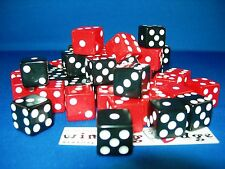 NEW 6 ASSORTED OPAQUE DICE16mm BLACK AND RED, 2 COLORS 3 EA