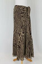 Lauren by Ralph Lauren Long Flowing Brown Tribal Print Silk Skirt Bohemian 8 M